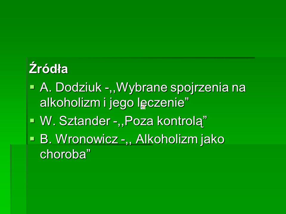 Źródła A. Dodziuk -,,Wybrane spojrzenia na alkoholizm i jego leczenie A. Dodziuk -,,Wybrane spojrzenia na alkoholizm i jego leczenie W. Sztander -,,Po