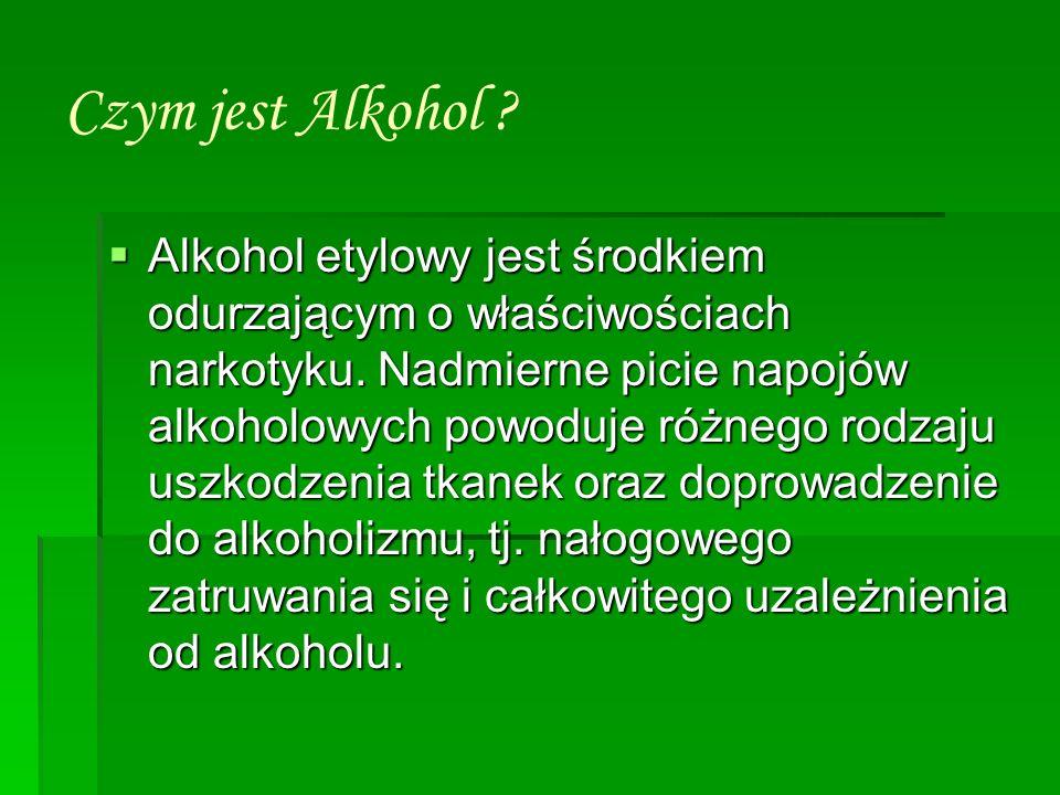 Czym jest Alkohol ? Alkohol etylowy jest środkiem odurzającym o właściwościach narkotyku. Nadmierne picie napojów alkoholowych powoduje różnego rodzaj