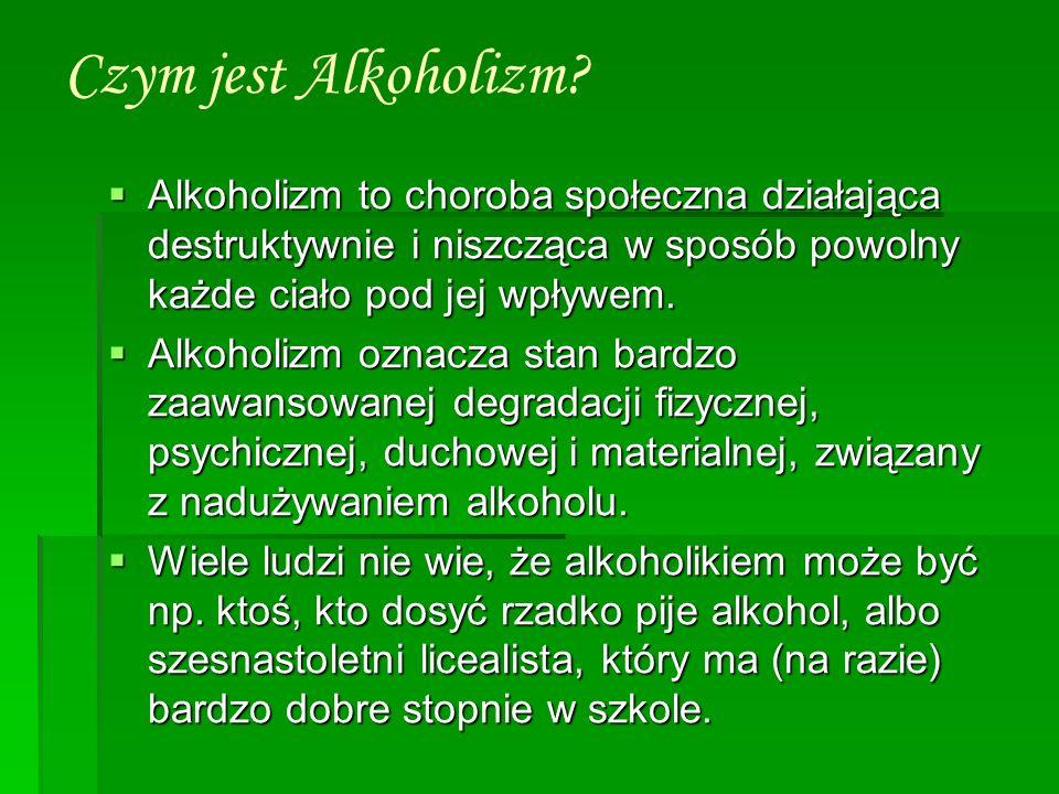 Czym jest Alkoholizm? Alkoholizm to choroba społeczna działająca destruktywnie i niszcząca w sposób powolny każde ciało pod jej wpływem. Alkoholizm to