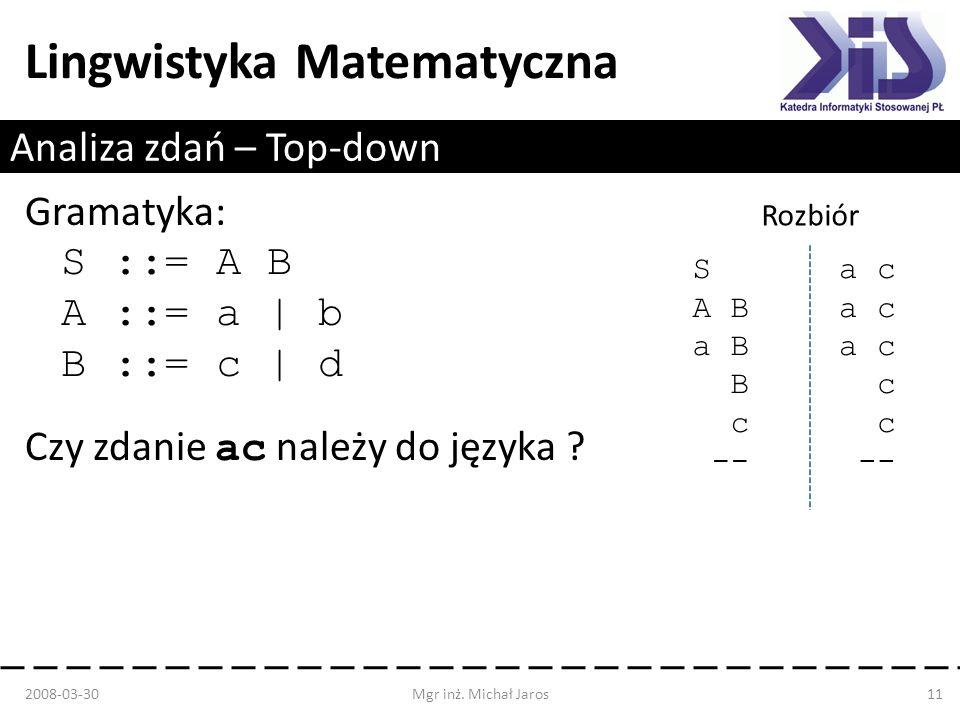 Lingwistyka Matematyczna Analiza zdań – Top-down 2008-03-30Mgr inż. Michał Jaros11 Gramatyka: S ::= A B A ::= a | b B ::= c | d Czy zdanie ac należy d