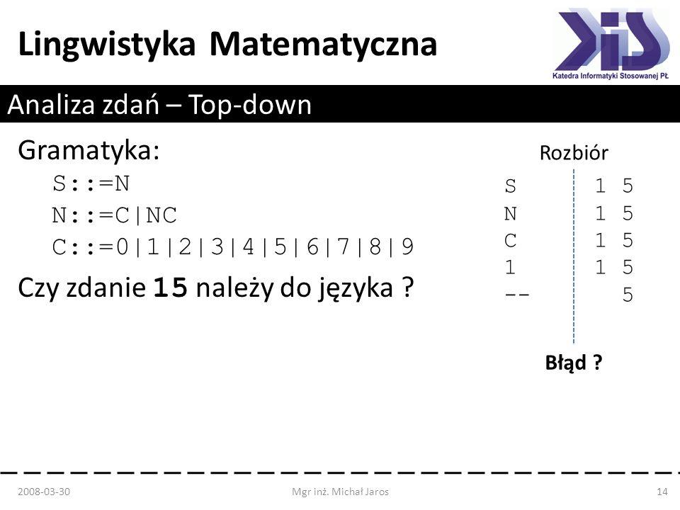 Lingwistyka Matematyczna Analiza zdań – Top-down Gramatyka: S::=N N::=C|NC C::=0|1|2|3|4|5|6|7|8|9 Czy zdanie 15 należy do języka ? 2008-03-30Mgr inż.