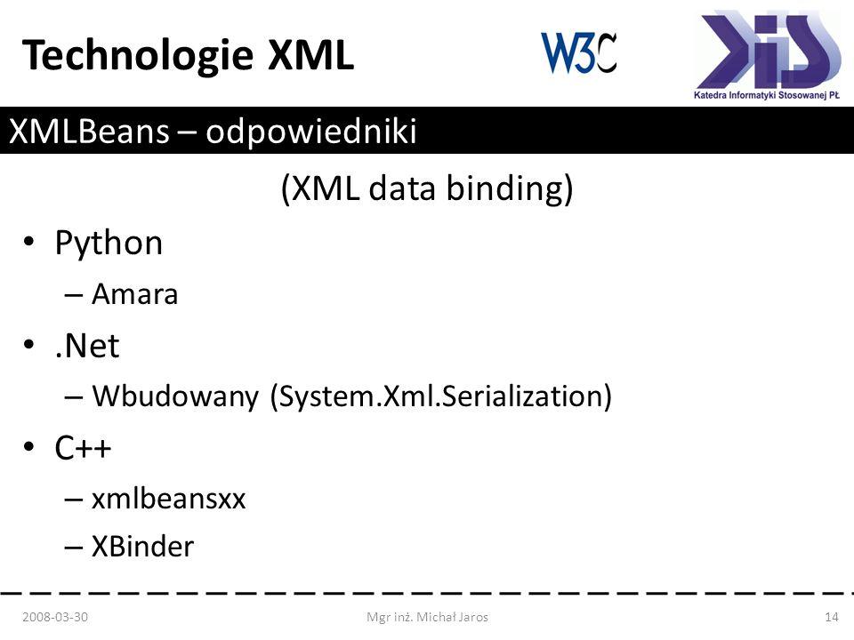 Technologie XML XMLBeans – odpowiedniki (XML data binding) Python – Amara.Net – Wbudowany (System.Xml.Serialization) C++ – xmlbeansxx – XBinder 2008-0