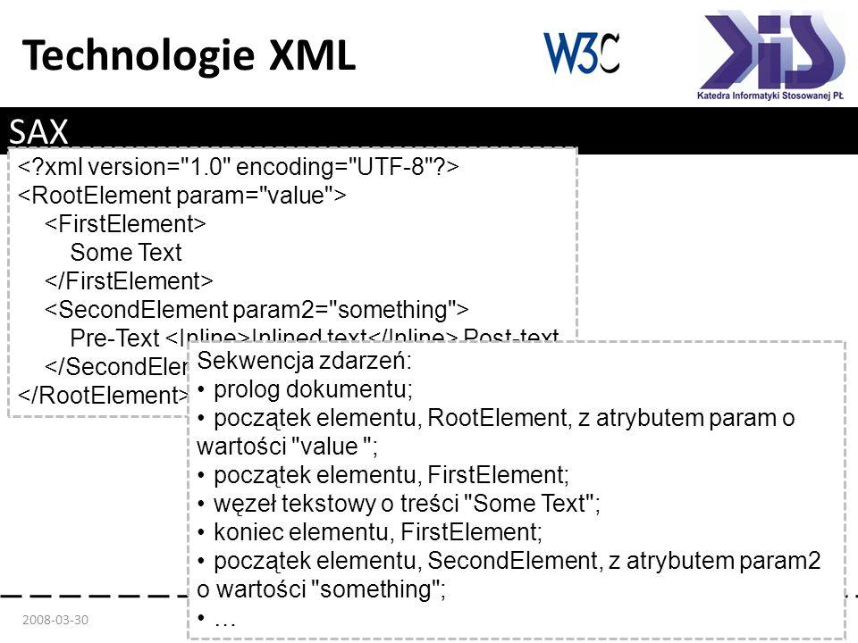 Technologie XML SAX Zalety Prostota implementacji Małe zapotrzebowanie na pamięć Sekwencyjne wczytywanie pliku Szybkość Wady Złożona obsługa Brak dostępu do całego pliku XML Tylko odczyt 2008-03-30Mgr inż.