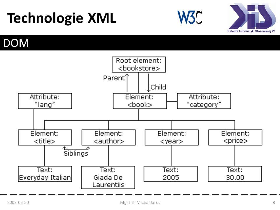 Technologie XML DOM Level 0 – Nieformalny – Używany przez starsze przeglądarki DOM Level 1 – Pierwsza specyfikacja standardu – Dostęp do treści dokumentu: tworzenie, modyfikacja, usuwanie węzłów DOM Level 2 – Dostępny w większości współczesnych przeglądarek oraz wielu językach programowania – Dodane przestrzenie nazw i zdarzenia DOM Level 3 – Obsługa wersji XML 2008-03-30Mgr inż.