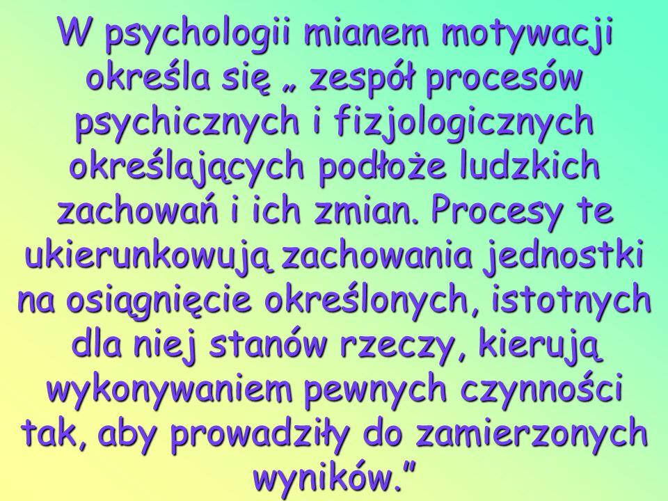 W psychologii mianem motywacji określa się zespół procesów psychicznych i fizjologicznych określających podłoże ludzkich zachowań i ich zmian. Procesy