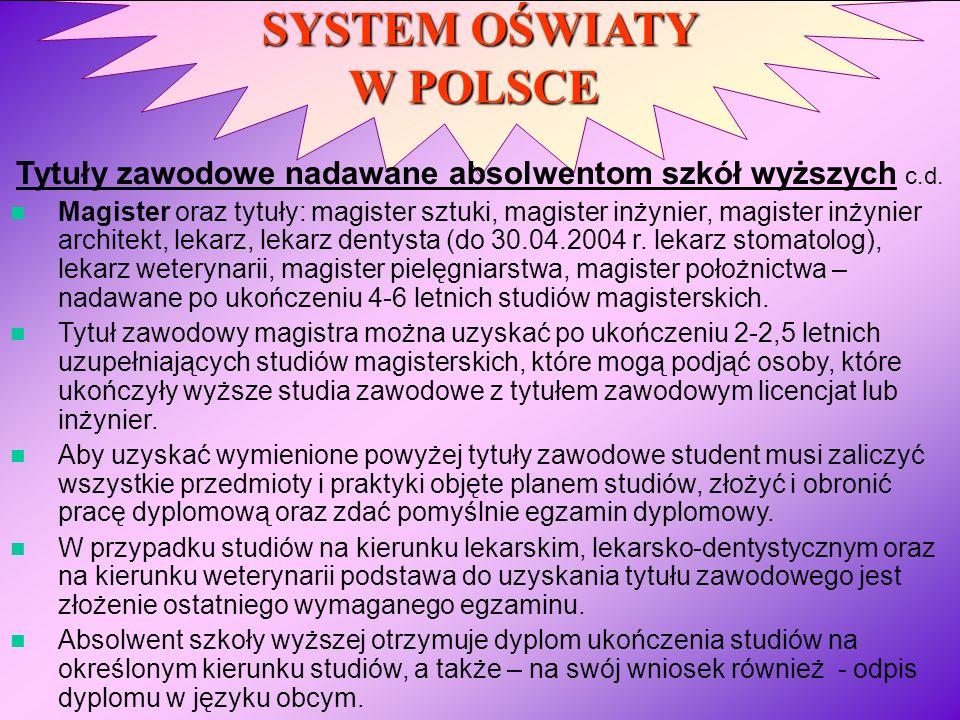 SYSTEM OŚWIATY W POLSCE Tytuły zawodowe nadawane absolwentom szkół wyższych c.d. Magister oraz tytuły: magister sztuki, magister inżynier, magister in