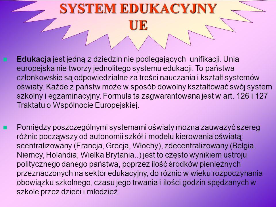 SYSTEM EDUKACYJNY UE Edukacja jest jedną z dziedzin nie podlegających unifikacji. Unia europejska nie tworzy jednolitego systemu edukacji. To państwa