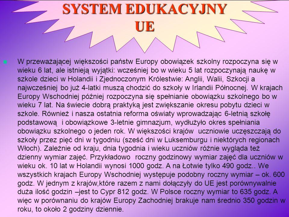 SYSTEM EDUKACYJNY UE W przeważającej większości państw Europy obowiązek szkolny rozpoczyna się w wieku 6 lat, ale istnieją wyjątki: wcześniej bo w wie