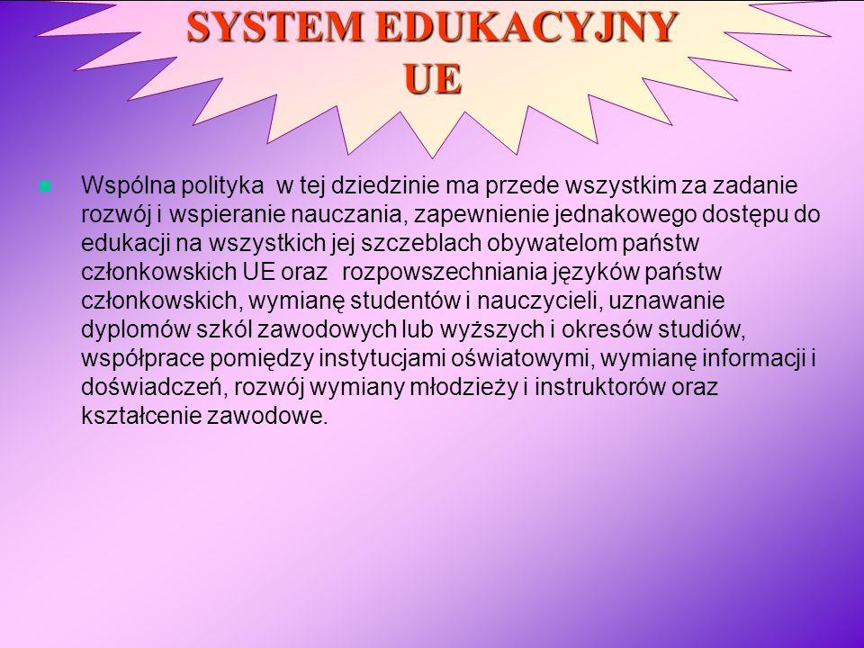 SYSTEM EDUKACYJNY UE Wspólna polityka w tej dziedzinie ma przede wszystkim za zadanie rozwój i wspieranie nauczania, zapewnienie jednakowego dostępu d