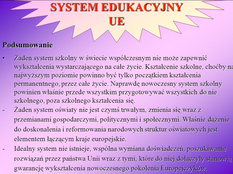 SYSTEM EDUKACYJNY UE Podsumowanie Żaden system szkolny w świecie współczesnym nie może zapewnić wykształcenia wystarczającego na całe życie. Kształcen