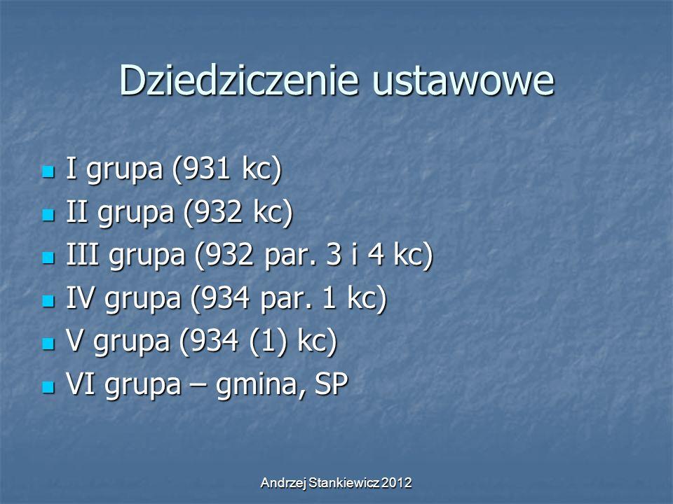 Andrzej Stankiewicz 2012 Dziedziczenie ustawowe I grupa (931 kc) I grupa (931 kc) II grupa (932 kc) II grupa (932 kc) III grupa (932 par. 3 i 4 kc) II