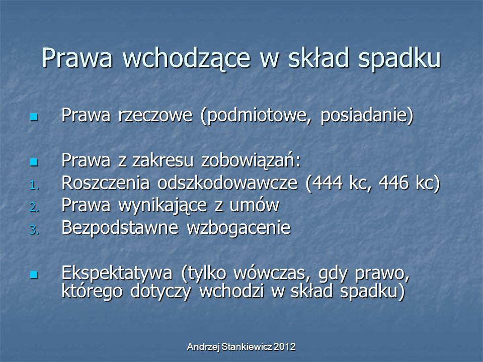 Andrzej Stankiewicz 2012 Prawa wchodzące w skład spadku Prawa rzeczowe (podmiotowe, posiadanie) Prawa rzeczowe (podmiotowe, posiadanie) Prawa z zakres