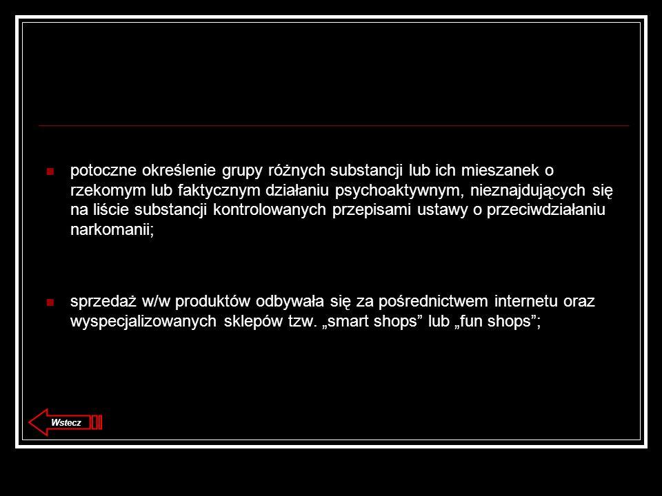 potoczne określenie grupy różnych substancji lub ich mieszanek o rzekomym lub faktycznym działaniu psychoaktywnym, nieznajdujących się na liście substancji kontrolowanych przepisami ustawy o przeciwdziałaniu narkomanii; sprzedaż w/w produktów odbywała się za pośrednictwem internetu oraz wyspecjalizowanych sklepów tzw.