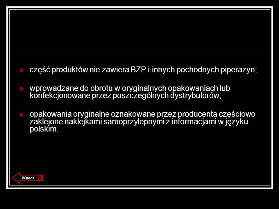 część produktów nie zawiera BZP i innych pochodnych piperazyn; wprowadzane do obrotu w oryginalnych opakowaniach lub konfekcjonowane przez poszczególnych dystrybutorów; opakowania oryginalne oznakowane przez producenta częściowo zaklejone naklejkami samoprzylepnymi z informacjami w języku polskim.