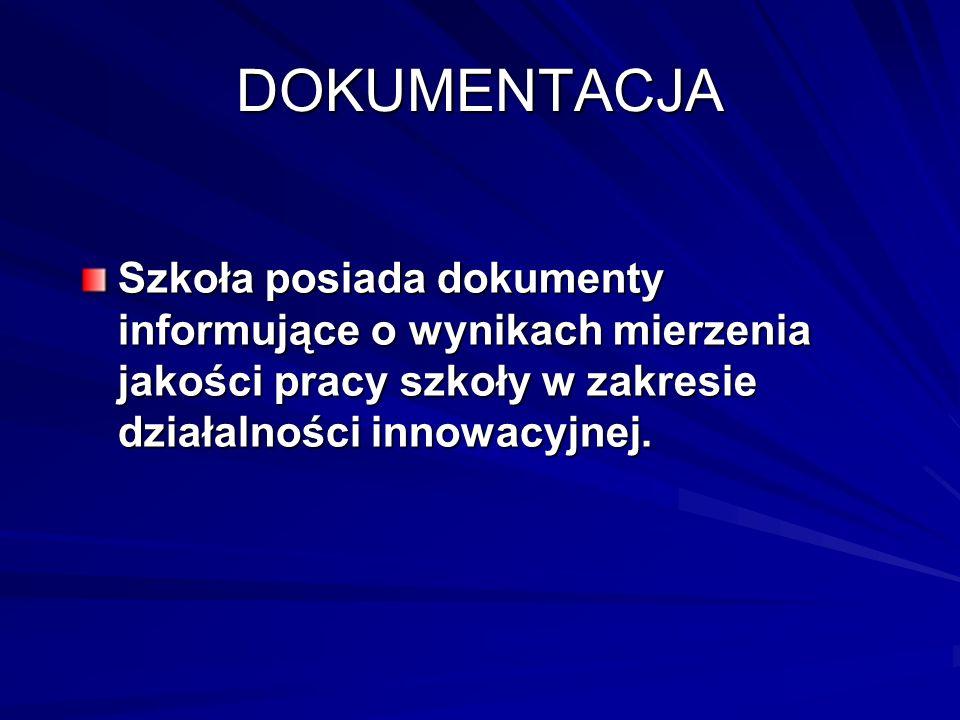 DOKUMENTACJA Szkoła posiada dokumenty informujące o wynikach mierzenia jakości pracy szkoły w zakresie działalności innowacyjnej.