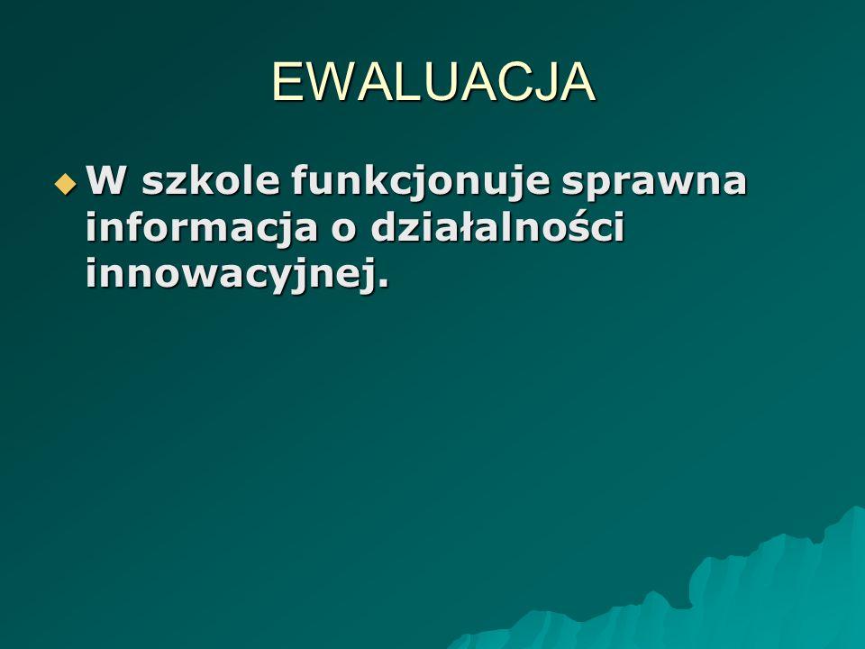 EWALUACJA W szkole funkcjonuje sprawna informacja o działalności innowacyjnej. W szkole funkcjonuje sprawna informacja o działalności innowacyjnej.