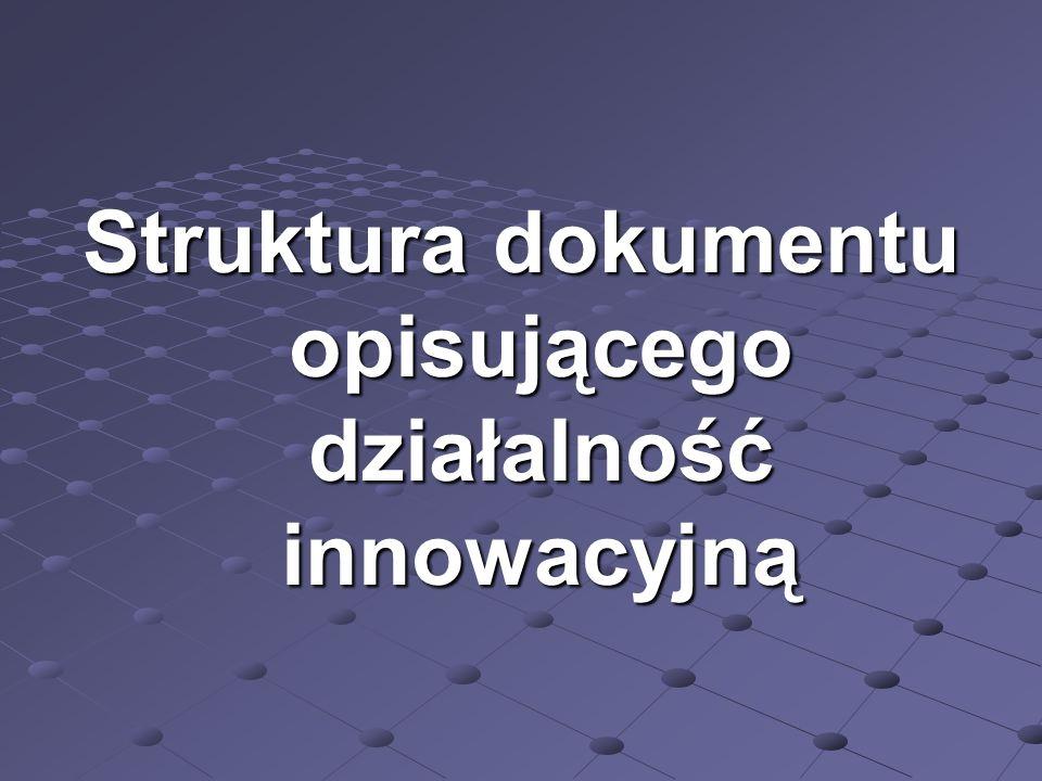 Struktura dokumentu opisującego działalność innowacyjną