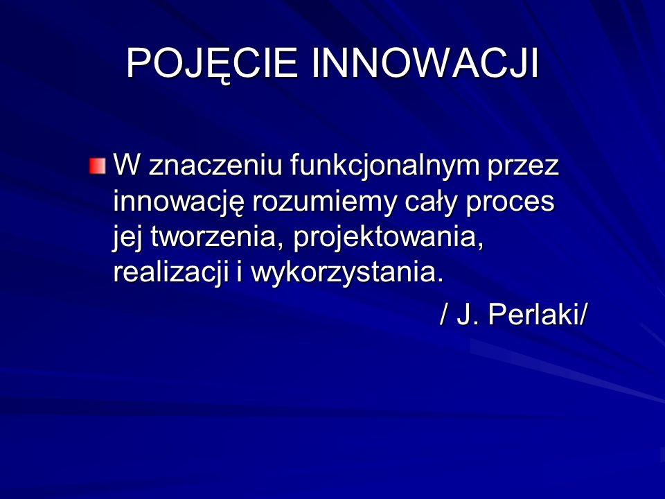 POJĘCIE INNOWACJI W znaczeniu funkcjonalnym przez innowację rozumiemy cały proces jej tworzenia, projektowania, realizacji i wykorzystania. / J. Perla