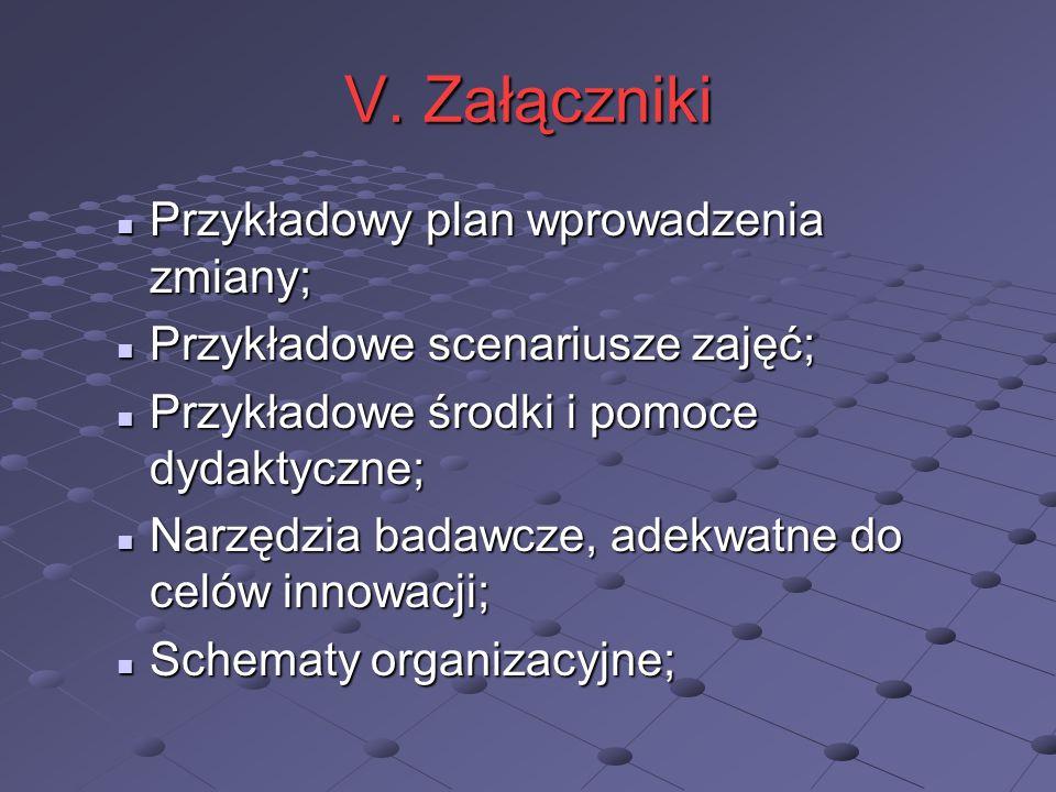 V. Załączniki Przykładowy plan wprowadzenia zmiany; Przykładowy plan wprowadzenia zmiany; Przykładowe scenariusze zajęć; Przykładowe scenariusze zajęć