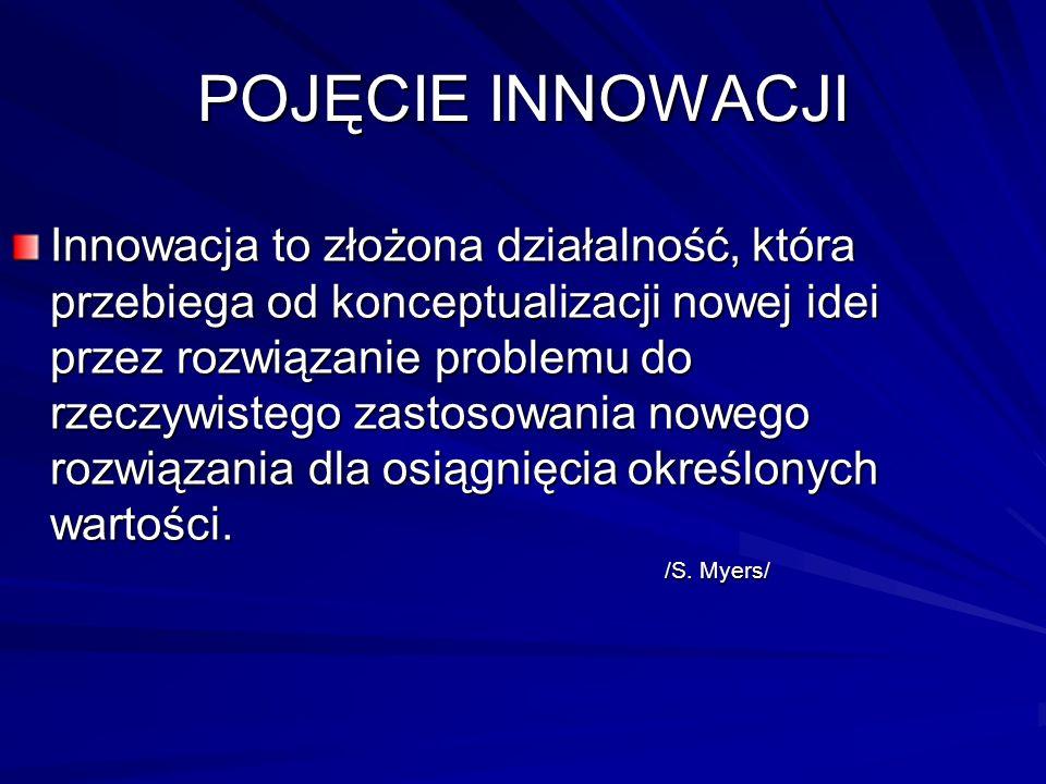 POJĘCIE INNOWACJI Innowacja to złożona działalność, która przebiega od konceptualizacji nowej idei przez rozwiązanie problemu do rzeczywistego zastoso