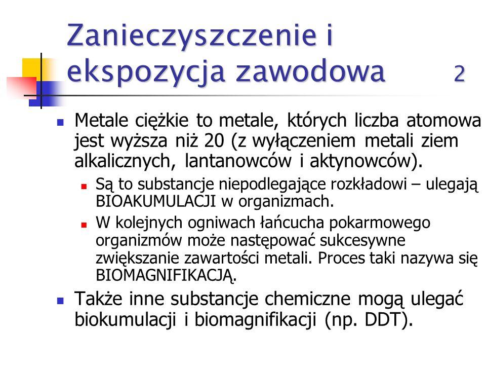 Zanieczyszczenie i ekspozycja zawodowa 1 Największe wpływ na zdrowie człowieka ma zanieczyszczenie środowiska metalami ciężkimi, związkami aromatyczny