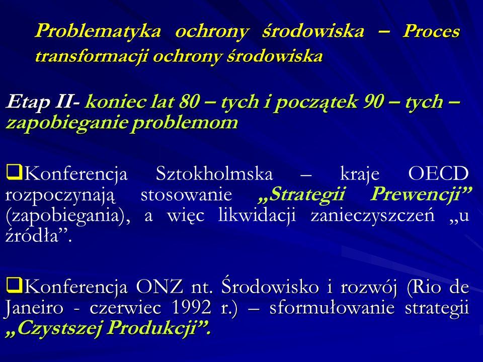 Proces transformacji ochrony środowiska Problematyka ochrony środowiska – Proces transformacji ochrony środowiska Etap II- koniec lat 80 – tych i pocz