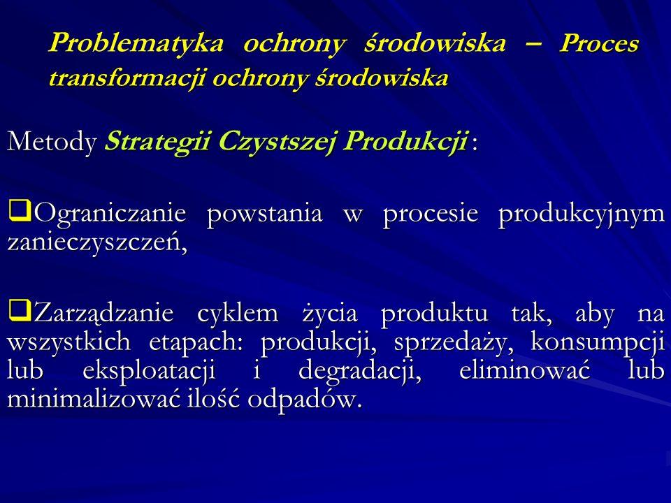 Proces transformacji ochrony środowiska Problematyka ochrony środowiska – Proces transformacji ochrony środowiska Metody Strategii Czystszej Produkcji