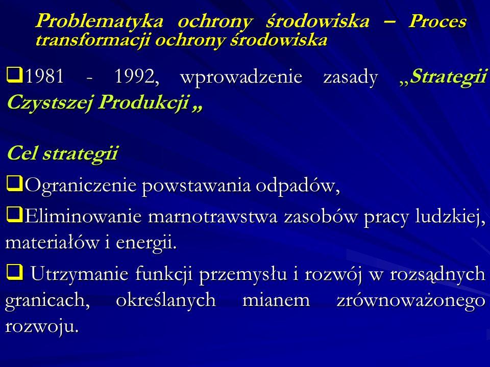 Proces transformacji ochrony środowiska Problematyka ochrony środowiska – Proces transformacji ochrony środowiska 1981 - 1992, wprowadzenie zasady Str