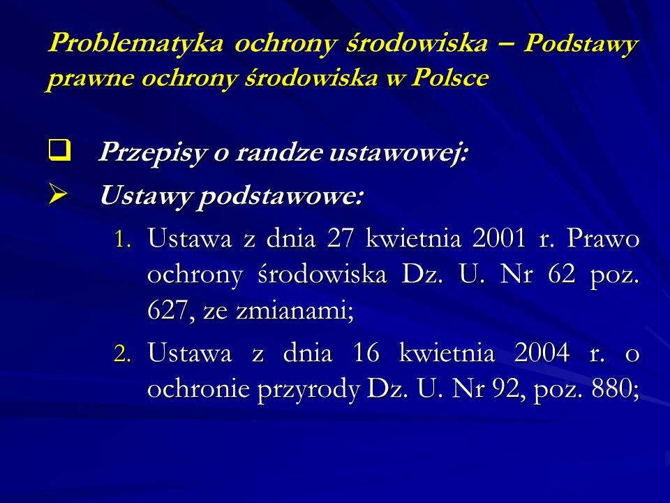 Podstawy prawne ochrony środowiska w Polsce Problematyka ochrony środowiska – Podstawy prawne ochrony środowiska w Polsce Przepisy o randze ustawowej: