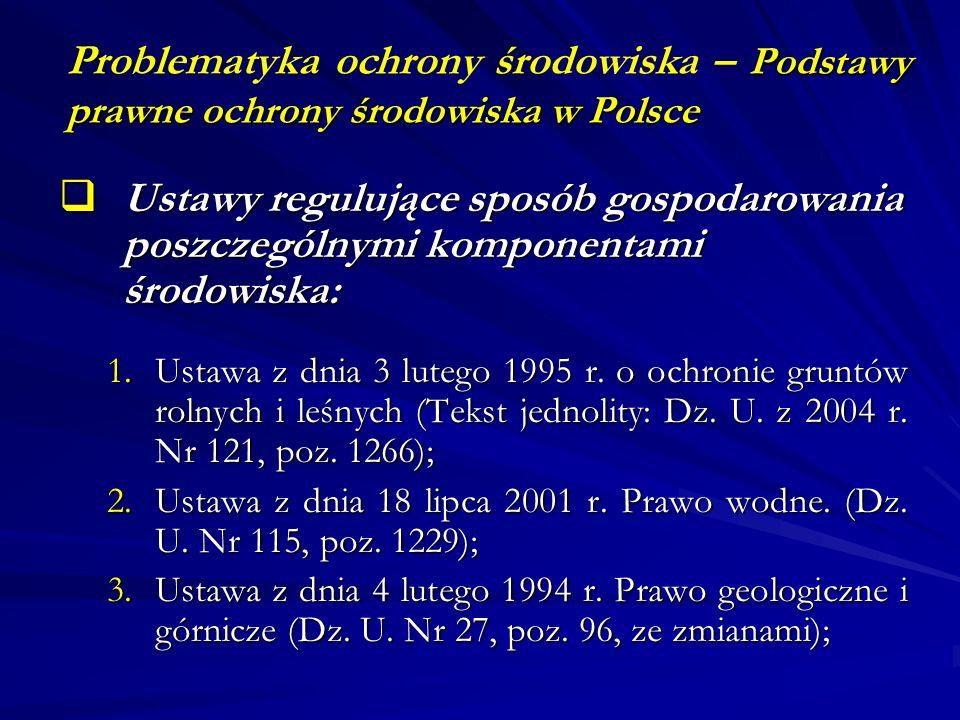 Podstawy prawne ochrony środowiska w Polsce Problematyka ochrony środowiska – Podstawy prawne ochrony środowiska w Polsce Ustawy regulujące sposób gos