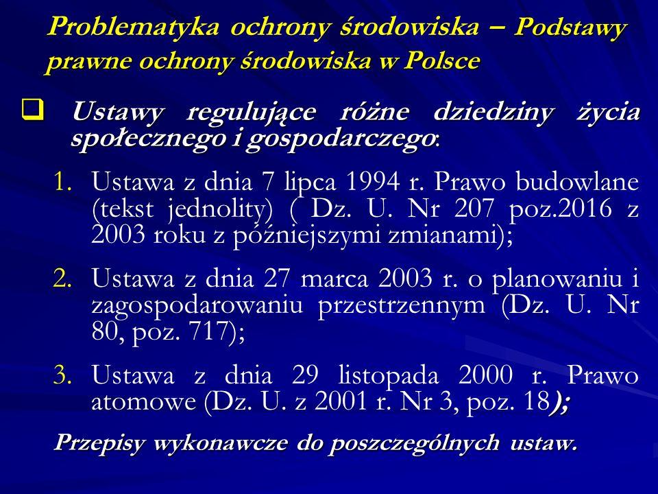 Podstawy prawne ochrony środowiska w Polsce Problematyka ochrony środowiska – Podstawy prawne ochrony środowiska w Polsce Ustawy regulujące różne dzie