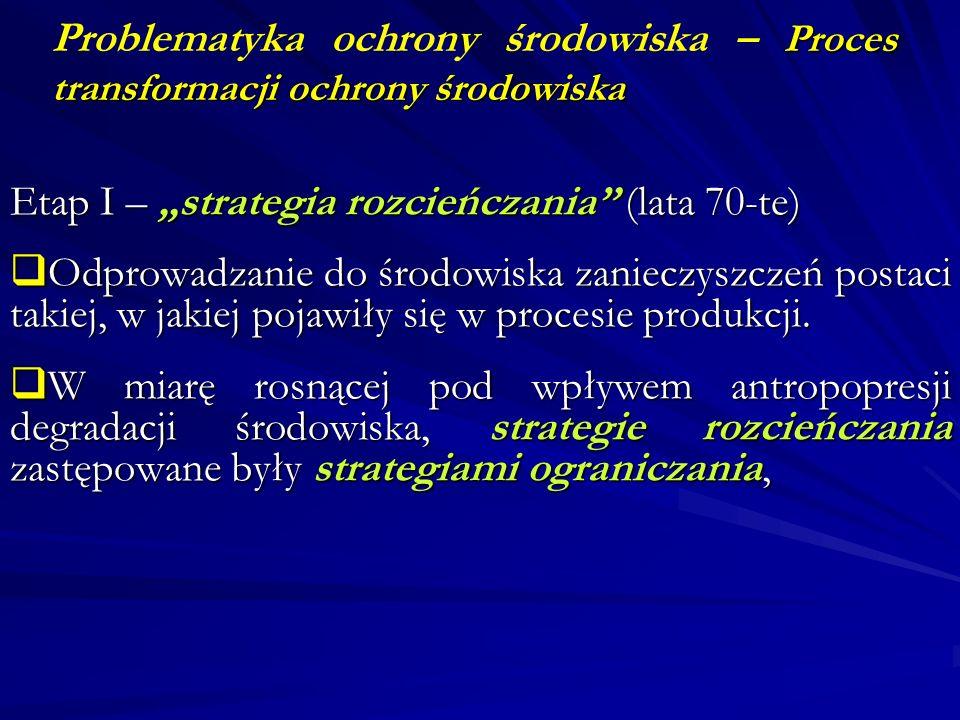 Proces transformacji ochrony środowiska Problematyka ochrony środowiska – Proces transformacji ochrony środowiska Etap I – strategia rozcieńczania (la