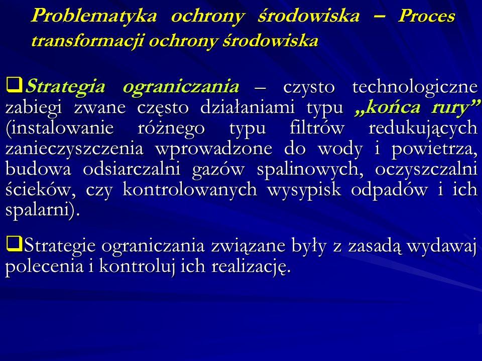 Proces transformacji ochrony środowiska Problematyka ochrony środowiska – Proces transformacji ochrony środowiska Strategia ograniczania – czysto tech