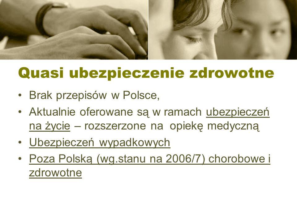 Quasi ubezpieczenie zdrowotne Brak przepisów w Polsce, Aktualnie oferowane są w ramach ubezpieczeń na życie – rozszerzone na opiekę medyczną Ubezpiecz