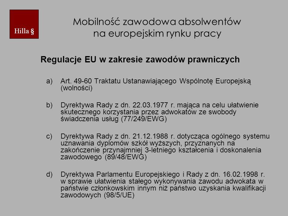 Mobilność zawodowa absolwentów na europejskim rynku pracy Regulacje EU w zakresie zawodów prawniczych a)Art.