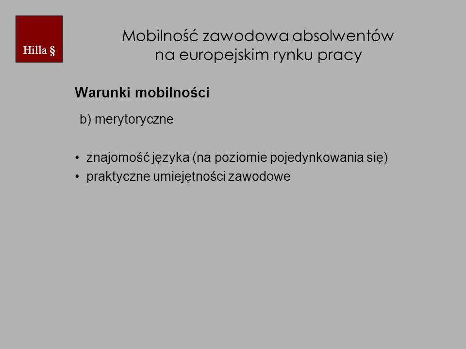 Mobilność zawodowa absolwentów na europejskim rynku pracy Warunki mobilności b) merytoryczne znajomość języka (na poziomie pojedynkowania się) praktyczne umiejętności zawodowe Hilla §