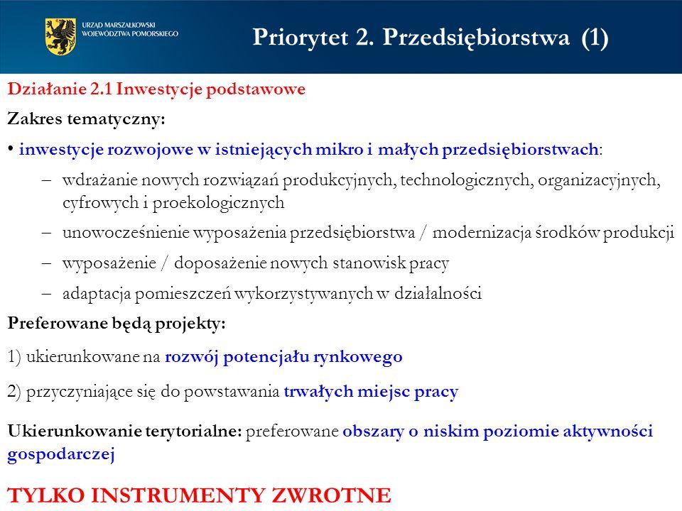 Priorytet 2. Przedsiębiorstwa (1) Działanie 2.1 Inwestycje podstawowe Zakres tematyczny: inwestycje rozwojowe w istniejących mikro i małych przedsiębi