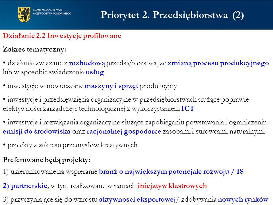 Priorytet 2. Przedsiębiorstwa (2) Działanie 2.2 Inwestycje profilowane Zakres tematyczny: działania związane z rozbudową przedsiębiorstwa, ze zmianą p