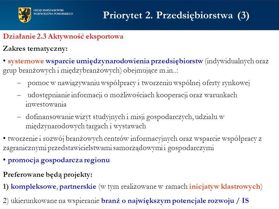 Priorytet 2. Przedsiębiorstwa (3) Działanie 2.3 Aktywność eksportowa Zakres tematyczny: systemowe wsparcie umiędzynarodowienia przedsiębiorstw (indywi