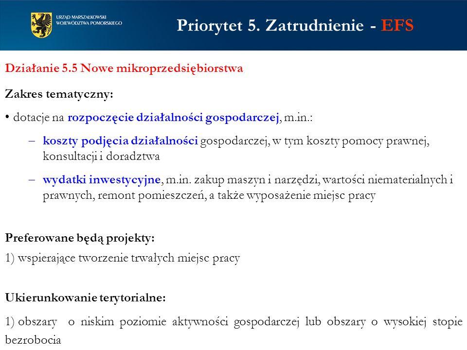 Priorytet 5. Zatrudnienie - EFS Działanie 5.5 Nowe mikroprzedsiębiorstwa Zakres tematyczny: dotacje na rozpoczęcie działalności gospodarczej, m.in.: k