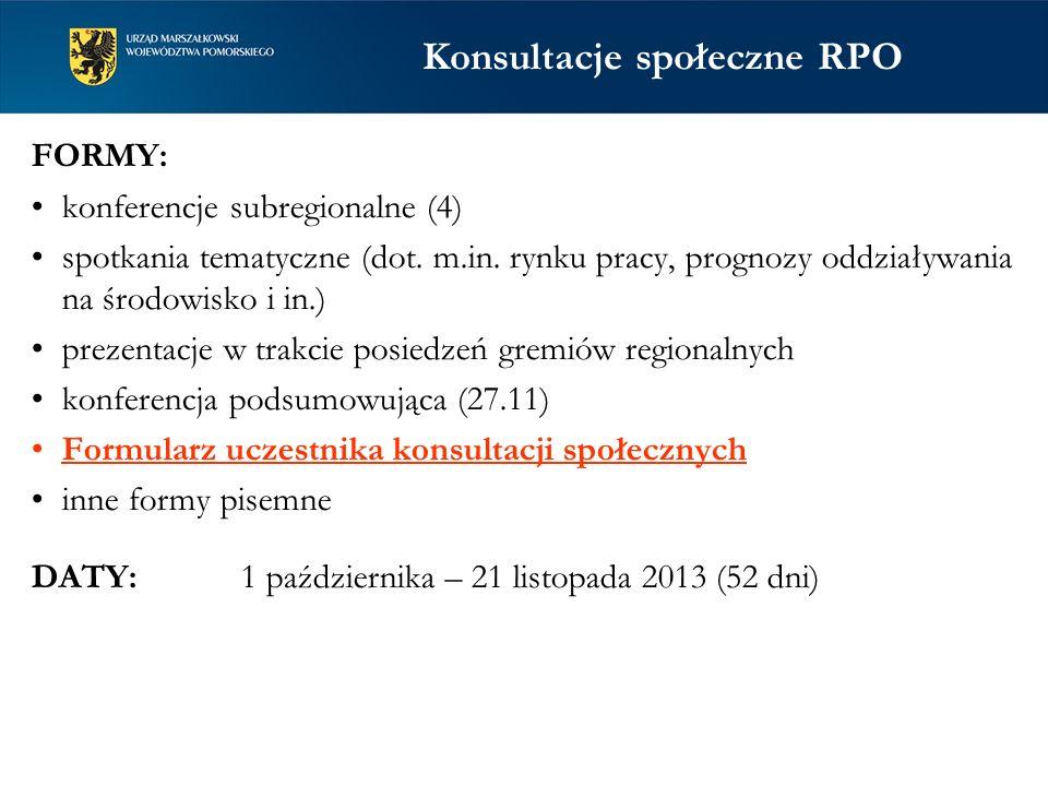 Konsultacje społeczne RPO FORMY: konferencje subregionalne (4) spotkania tematyczne (dot. m.in. rynku pracy, prognozy oddziaływania na środowisko i in