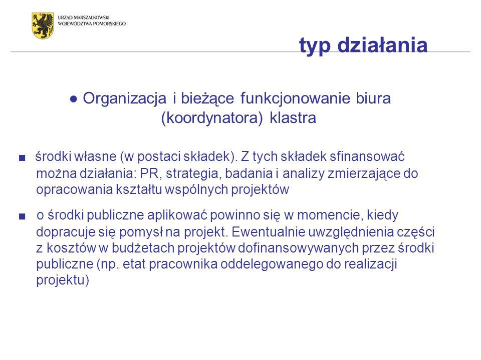 typ działania Organizacja i bieżące funkcjonowanie biura (koordynatora) klastra środki własne (w postaci składek).