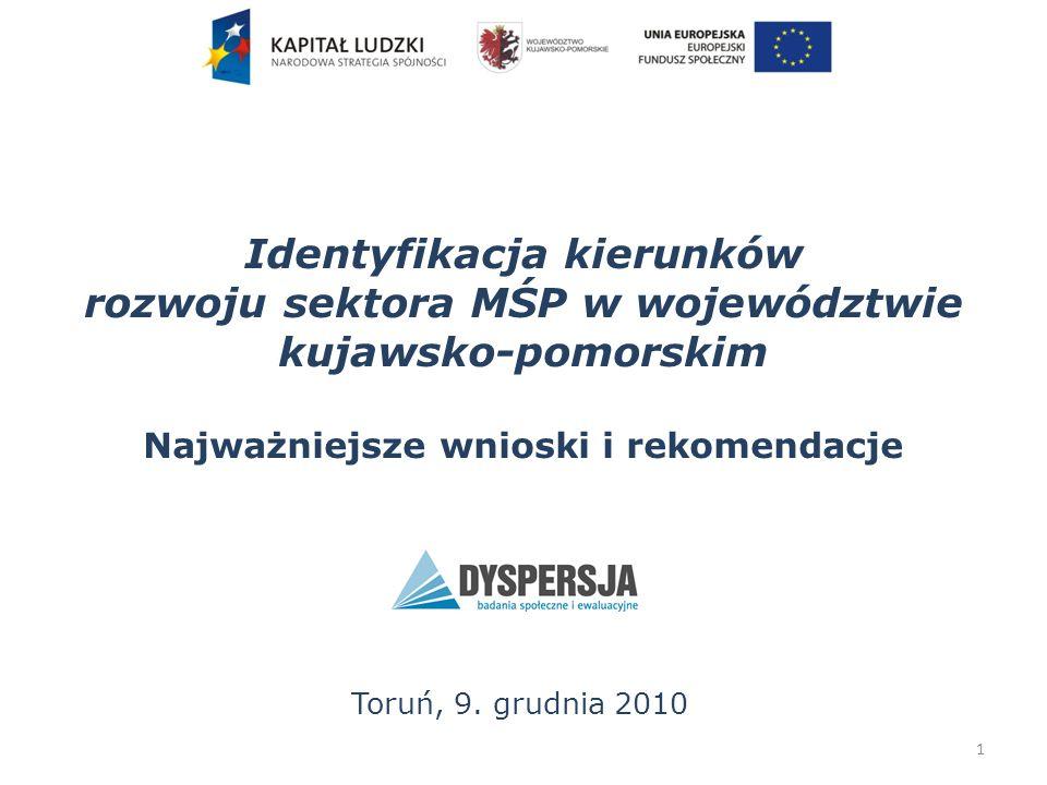 Znajomość organizacji reprezentujących MŚP Znajomość organizacji reprezentującej w województwie kujawsko-pomorskim interesy przedsiębiorstw takich, jak firma respondenta 32 Źródło: Badanie ankietowe MŚP, maj 2010 roku Znajomość organizacji reprezentującej w zależności od wieku MŚP: wśród MŚP założonych przed 1989: 48% wśród działających od 6 do 21 lat: 29% - 34% wśród działających do 5 lat: 14%