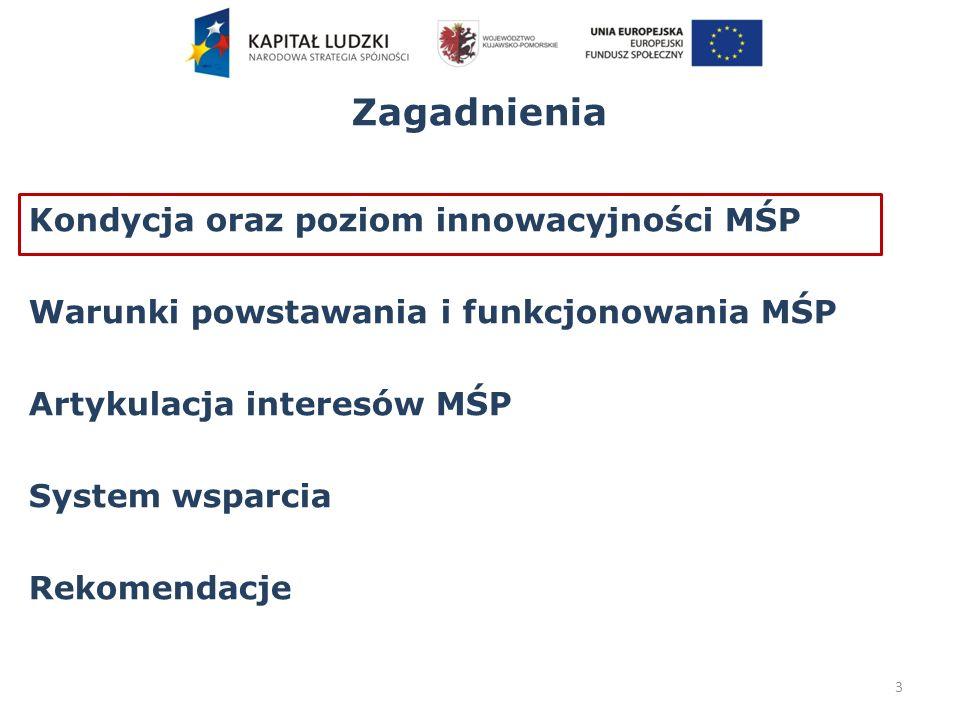 Zagadnienia Kondycja oraz poziom innowacyjności MŚP Warunki powstawania i funkcjonowania MŚP Artykulacja interesów MŚP System wsparcia Rekomendacje 34