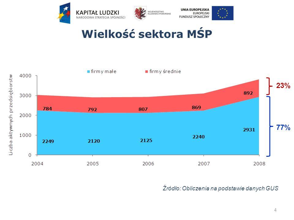 Wielkość sektora MŚP 4 Źródło: Obliczenia na podstawie danych GUS 23% 77%