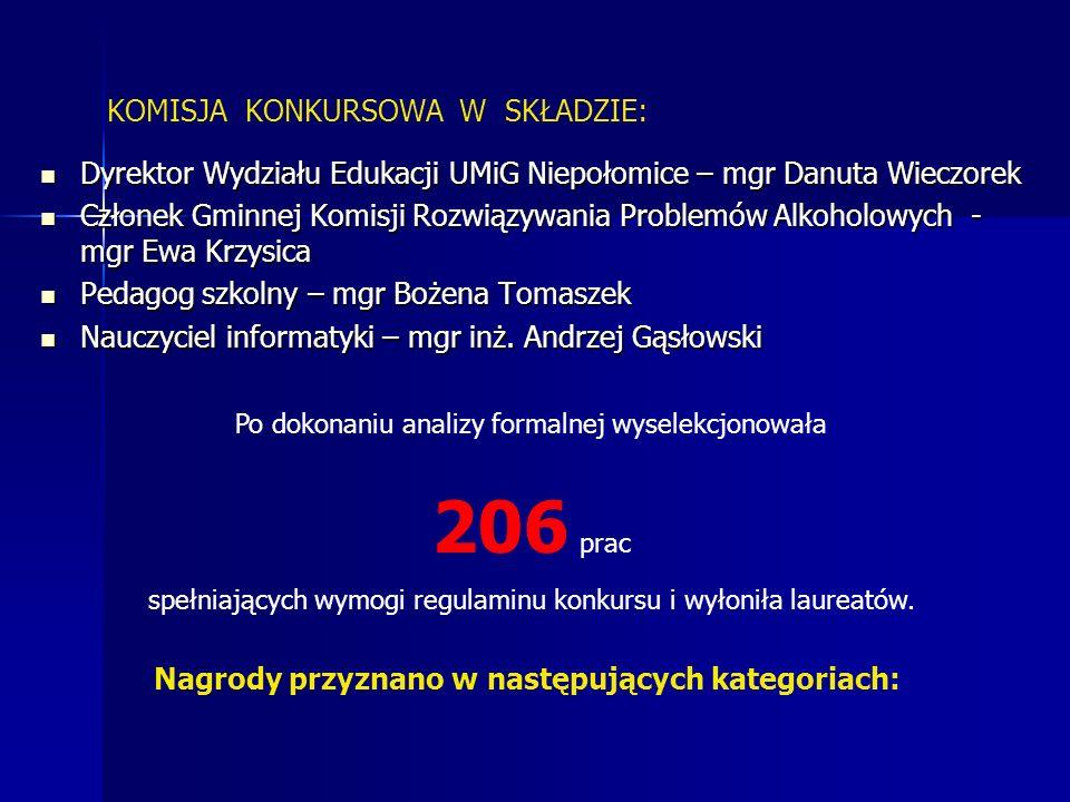 Komisja poza konkursem wyróżniła: 22 prace uczniów klas zerowych oraz: Michała Zielonkę z kl.