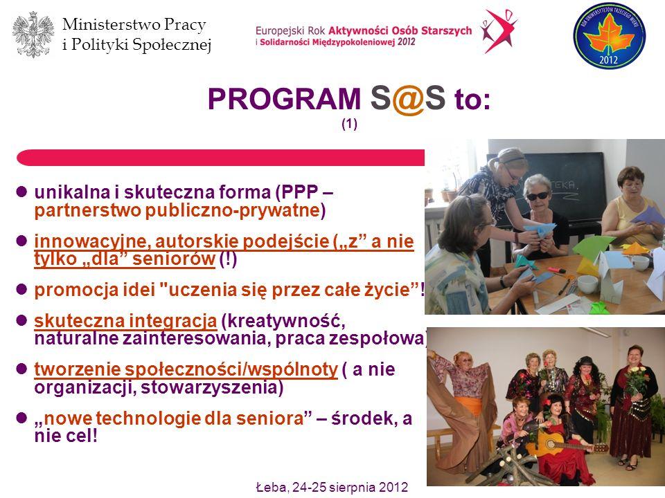Łeba, 24-25 sierpnia 2012 Ministerstwo Pracy i Polityki Społecznej 4 przedsięwzięcie ciągłe i bezpłatne (jedyny model w Polsce !) program powszechnie dostępny projekty krajowe i międzynarodowe (współpraca z 12 organizacjami z 11 krajów UE) rozwój wolontariatu pracowniczego i wolontariatu seniorów temat analiz naukowych (prace licencjackie, referaty na konferencjach naukowych naturalna integracja międzypokoleniowa PROGRAM S@S to: (2)