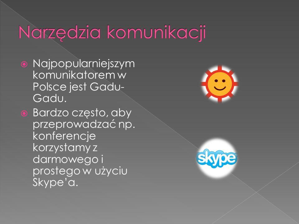Najpopularniejszym komunikatorem w Polsce jest Gadu- Gadu. Bardzo często, aby przeprowadzać np. konferencje korzystamy z darmowego i prostego w użyciu
