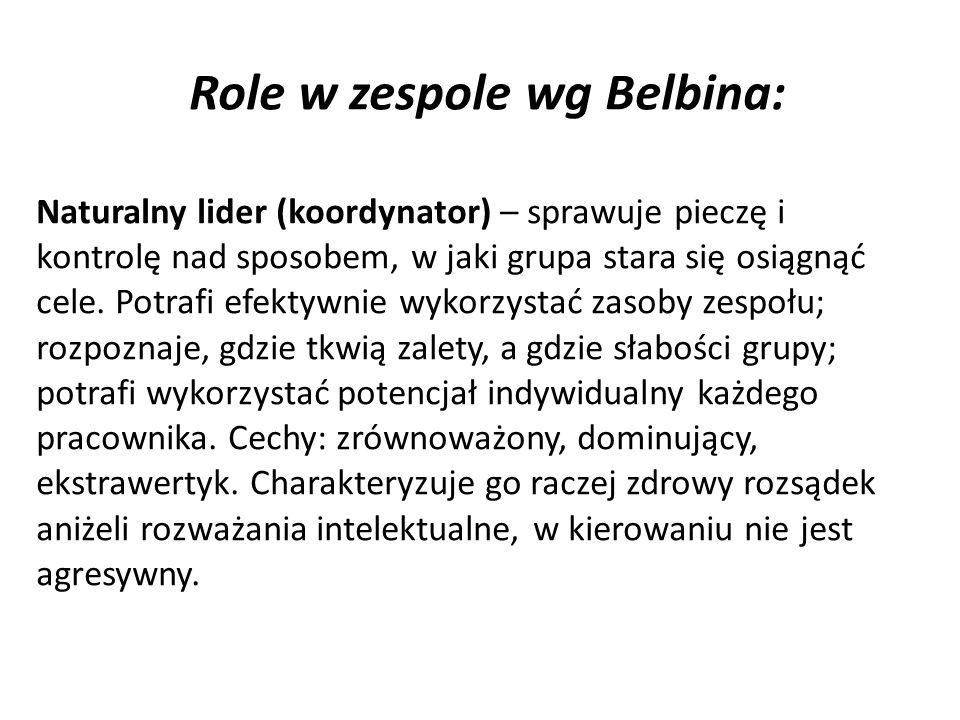Role w zespole wg Belbina: Naturalny lider (koordynator) – sprawuje pieczę i kontrolę nad sposobem, w jaki grupa stara się osiągnąć cele.