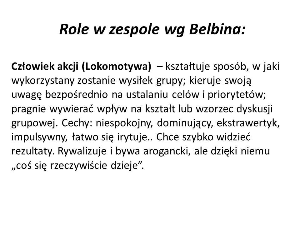 Role w zespole wg Belbina: Człowiek akcji (Lokomotywa) – kształtuje sposób, w jaki wykorzystany zostanie wysiłek grupy; kieruje swoją uwagę bezpośrednio na ustalaniu celów i priorytetów; pragnie wywierać wpływ na kształt lub wzorzec dyskusji grupowej.